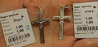 Підвіс срібний Хрест подвес крест серебрянный 3748 черн., бел.