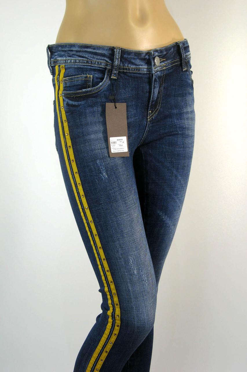 Жіночі джинси з жовтими лампасами і стразами