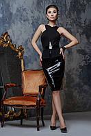 Эффектное черное платье из джерси и лака, фото 1