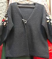 Женская теплая кофта кардиган с вышивкой