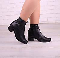 Ботинки кожаные женские на небольшом каблуке по 42р-р, фото 1