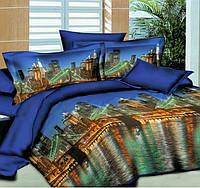 Полуторное постельное белье с простыней на резинке 90/200/25, Ночные огни, ранфорс