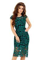 """Нарядное облегающее миди-платье """"ANDY"""" с вышивкой и коротким рукавом (4 цвета)"""