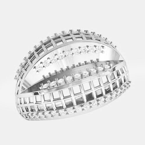 Кольцо  женское серебряное Решетка ВKE-1482
