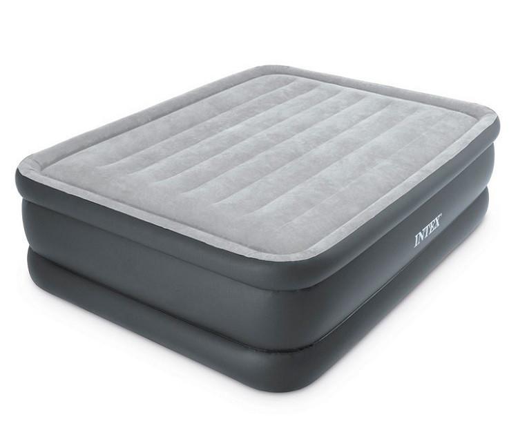 Надувная двуспальная велюровая кровать Intex 64140 со встроенным насосом