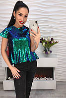 Стильная модная женская футболка пайетки-хамелион