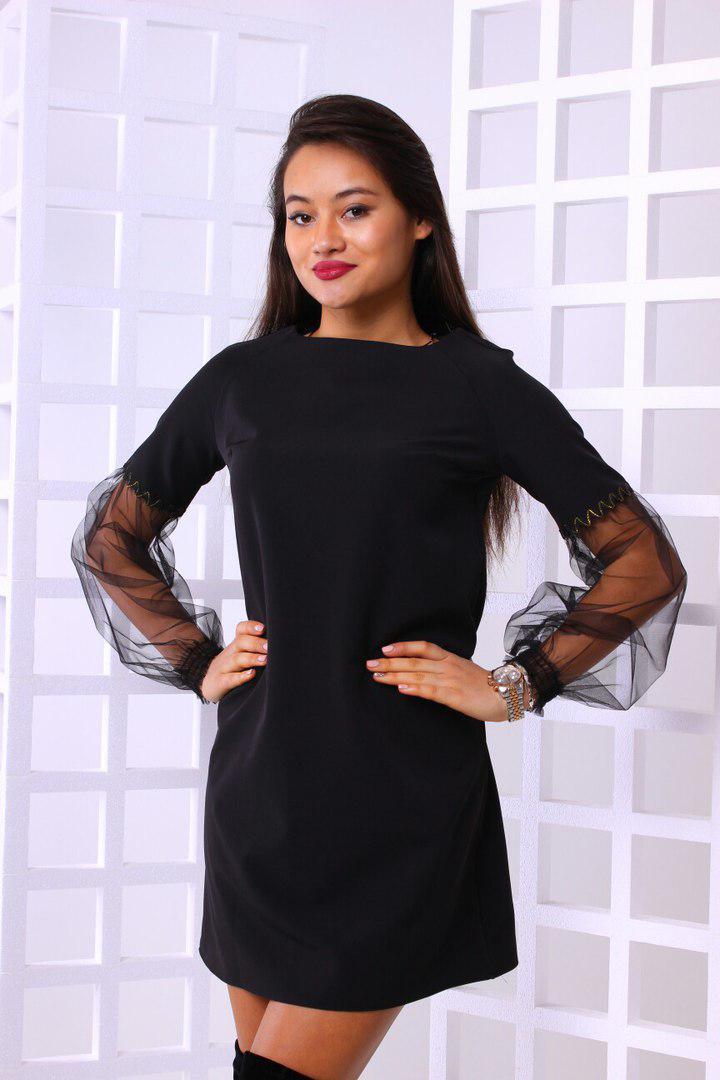 Модное женское платье с красивыми рукавами из сетки  986ca47fb622e