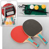 Ракетка для наст. тениса за 2шт 1 шар в слюде 18*29*4см  MS 0220