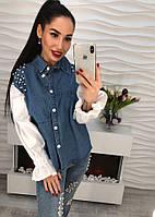 Стильная удлиненная женская белая рубашка блузка с джинсовыми вставками тренд 2018 года