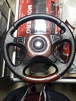 Руль 4 спицы Лада, ВАЗ 2101-2107 , Черный с коричневым под дерево Класcика!