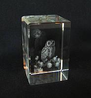 Статуэтка хрустальная голограмма Сова