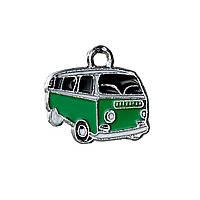 """Подвеска """" Микроавтобус """", Автомобиль, Серебряный тон, Черный и Зеленый, Эмаль, 20 мм x 18 мм"""