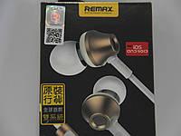 Наушники c микрофоном 3,5мм Remax 610D Gold-White Original