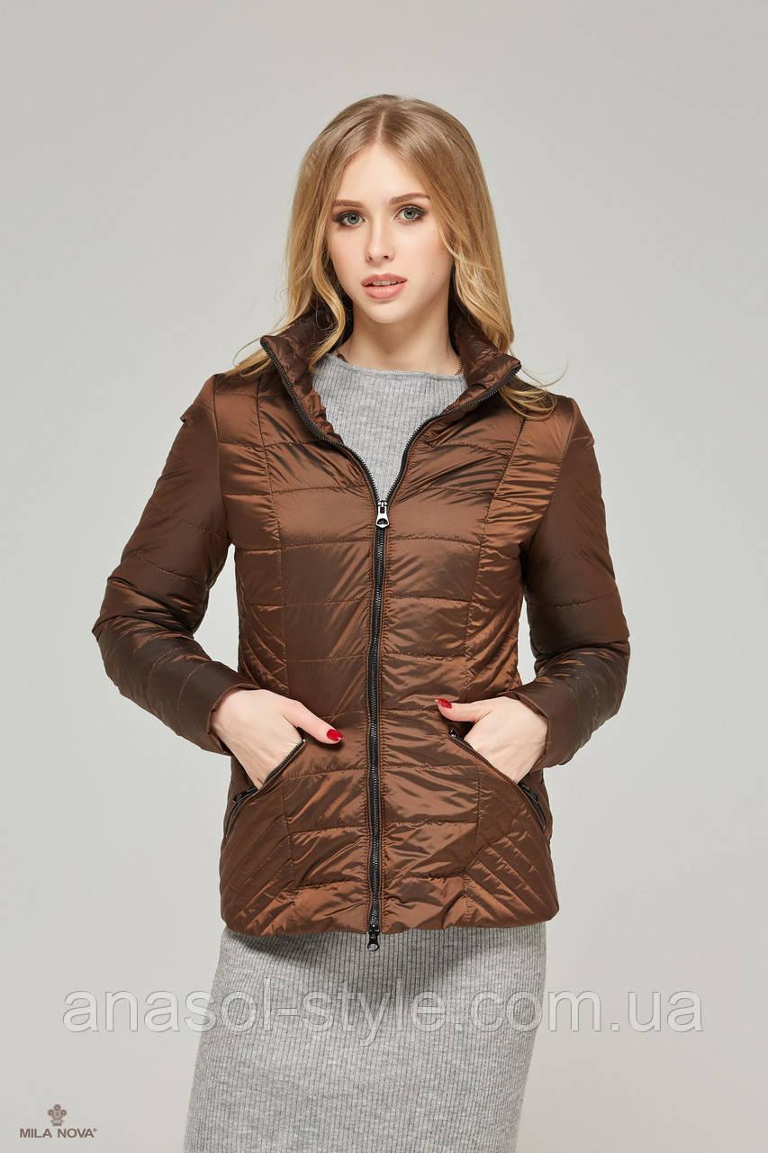 Куртка-плащ стеганая демисезонная хамелеон шоколад
