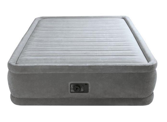 Надувная двуспальная велюровая кровать Intex 64414 со встроенным насосом
