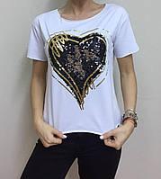 Летняя женская турецкая футболка с пайетками белая