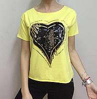 Летняя женская турецкая футболка с пайетками желтая