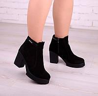Женские ботинки из замши на устойчивом каблуке , фото 1