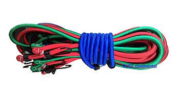 Жгут резиновый 1 м х 12 мм (10 шт/упак) для крепления багажа круглый многожильный с крючками  , фото 2