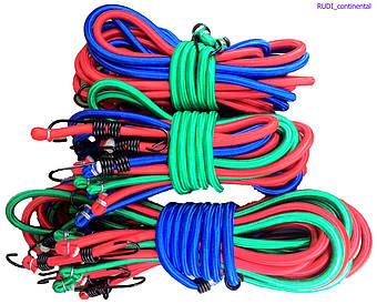 Жгут резиновый 1.5 м х 12 мм (10 шт/упак) для крепления багажа круглый многожильный с крючками