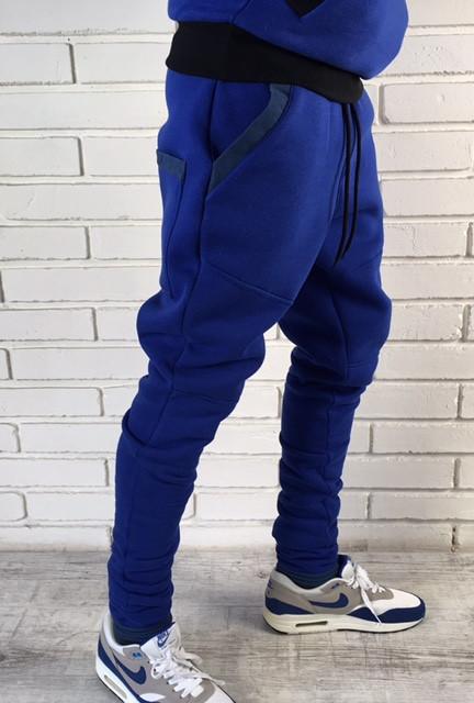 55104e6b Мужские теплые брюки зауженные до колен синие - Интернет-магазин обуви и  одежды KedON в