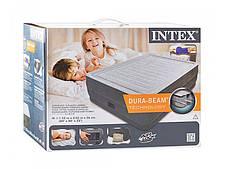 Надувная двуспальная велюровая кровать Intex 64418 со встроенным насосом, фото 2