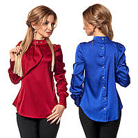 Атласная женская блуза с асимметричным жабо и застежкой на спинке