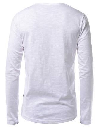 Мужская тонкая футболка лонгслив белая, фото 2
