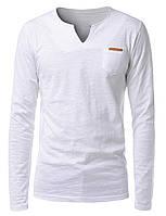 Мужская тонкая футболка лонгслив белая