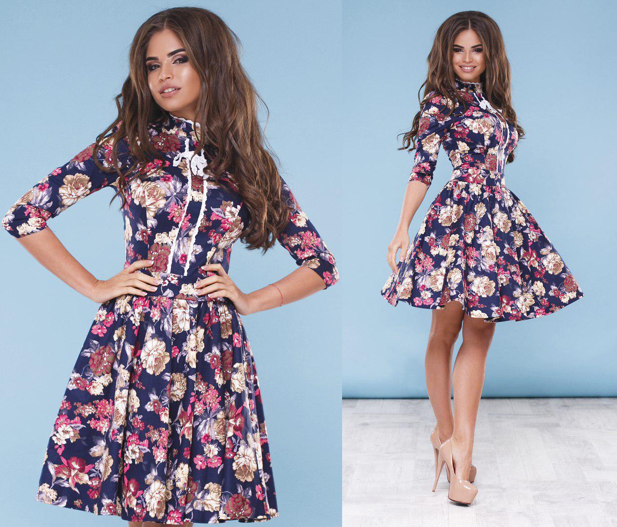 ba4069c0a05be4f Женское стильное платье средней длины 1028