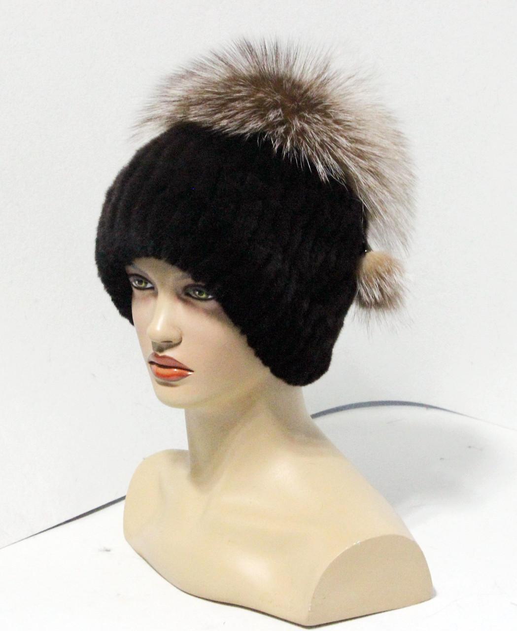 Меховые шапки из комбинированного меха чернобурки и rex rabbit