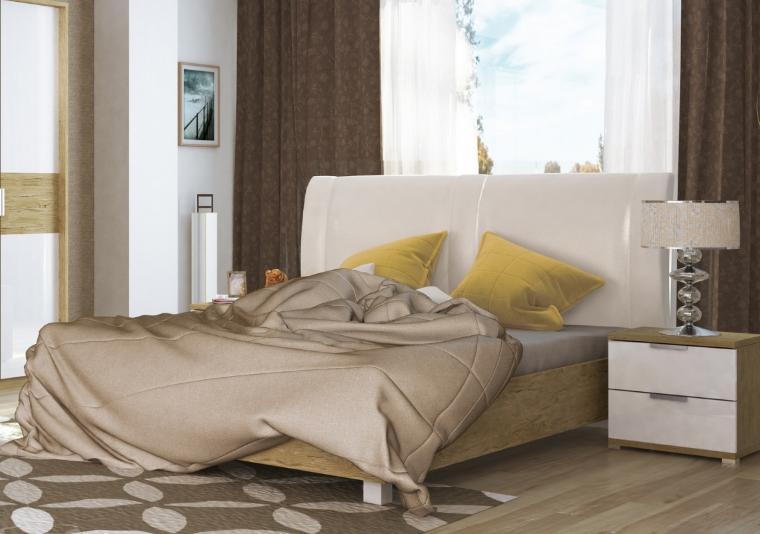 Ліжко з ДСП/МДФ в спальню Верона 1,6х2,0 м'яка спинка з каркасом Миро-Марк