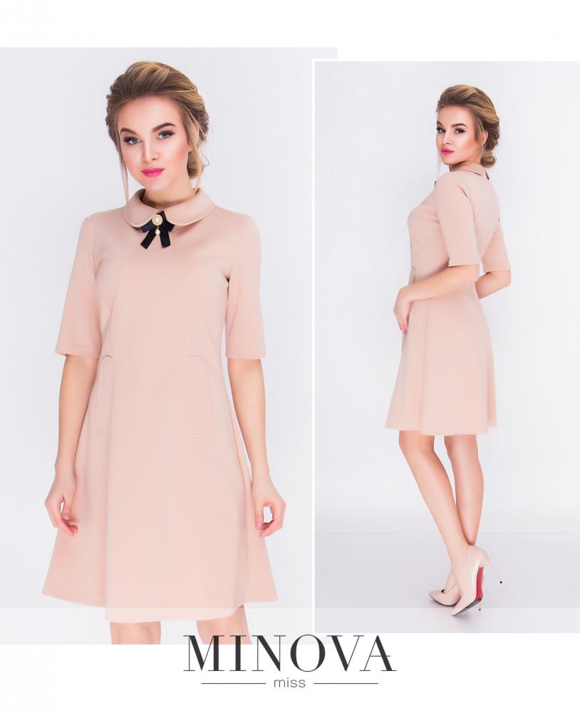 Элегантное и сдержанное платье-трапеция с отложным воротником. Размеры: 42,44,46,48.