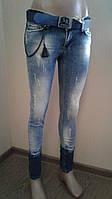 Женские джинсы зауженные с комбинированной варкой