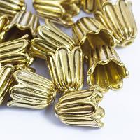 Конус Шапочки для Бусин, Металлические, Цветок, Цвет: Античное Золото, Размер: 10х10мм, Отверстие 1мм, (УТ0029172)