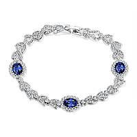 Женский браслет с синими камнями в позолоте Скромница 167901