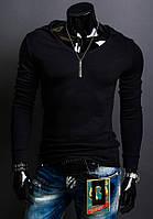 Эластичный мужской реглан с капюшоном серый