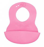 Нагрудник мягкий силиконовый Розовый BabyOno 835