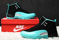 Мужские кроссовки Nike Air Jordan 12 Retro Black Gamma Blue. Живое фото  (Реплика b3c2f2ebce4