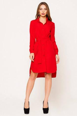 Элегантное повседневное женское платье Евгения цвет красный  размер  42, 44, 46, 48 габардин, фото 2