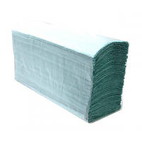 Полотенца бумажные Z-складка в листах BASIC, 1-слойные, 38 г/м² зеленые, 25 пачек по 150 листов