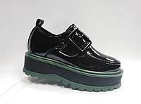 Туфли лаковые на толстой подошве, на липучке ., фото 1