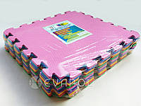 Мягкий пол  пазл детский коврик ТермоЭва Микс 480*480*8мм 12 элементов