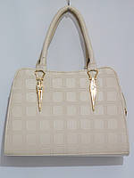 Женская каркасная светлая сумка, крем, фото 1