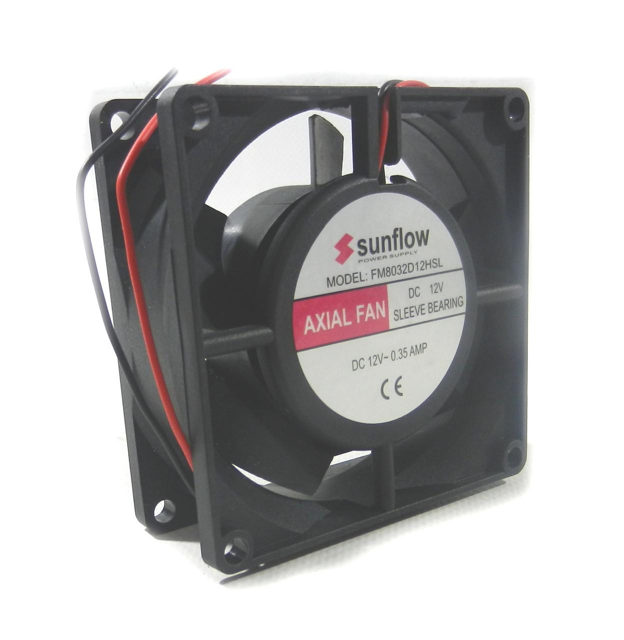 Вентилятор  80-80-32   (12v) Sunflow пластик
