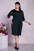 Элегантное весенне платье полуприталенного фасона бутылочное