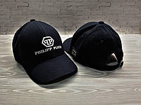 Мужская кепка Филип Плейн Phlipp Plein пятиклинка тёмно-синяя (реплика), фото 1