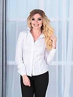 Белая рубашка, длинный рукав с патом.