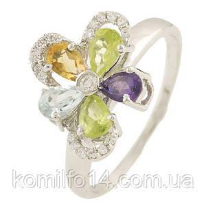 Серебряное кольцо с натуральным топазом,аметистом,хризолитом и цитрином