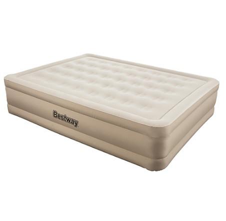 Надувная двуспальная велюровая кровать Bestway 69011 со встроенным насосом